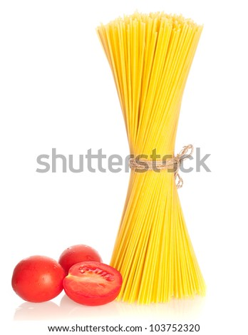 Pasta with tomatoes. isolated - stock photo