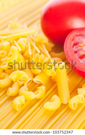 Pasta with tomatoes. isolated