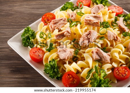 Pasta with tuna and vegetables - stock photo