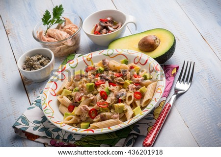 pasta with tuna capers avocado and anchovy