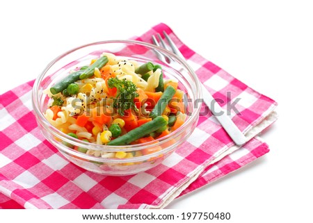 Pasta with vegetable mix - stock photo