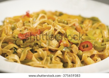 pasta with vegetables close-up