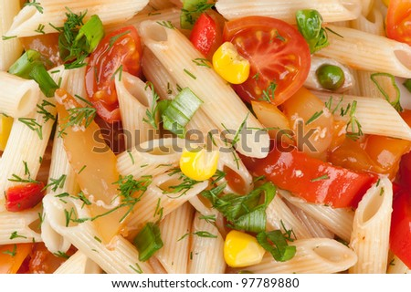 pasta with vegetables closeup - stock photo