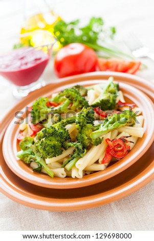 Pasta with vegetables. Italian delicious food. Selective focus