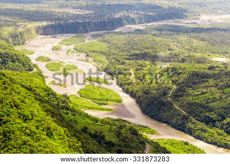 Pastaza River Basin Aerial Shot From Low Altitude Full Size Helicopter