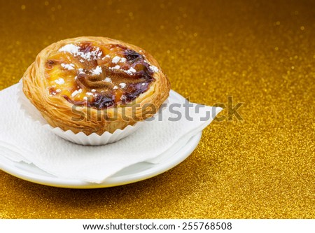 Pasteis de Belem, Nata, Portuguese Cake  - stock photo