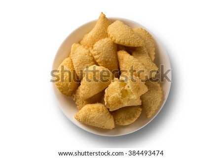 Pastel, a Brazilian snack. Cheese pastry on white background. - stock photo