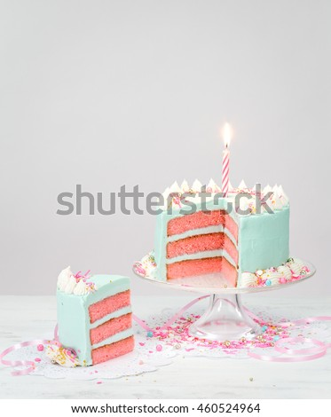 Pastel Blue Birthday Cake with Pink Layers