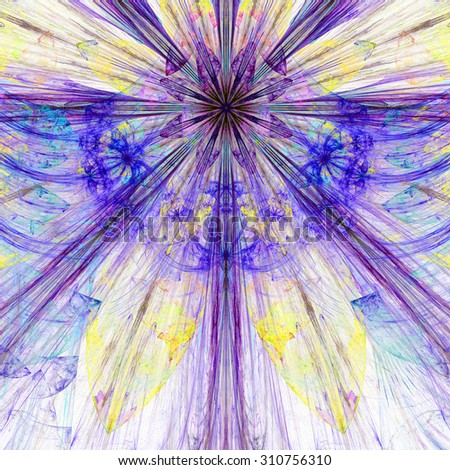 Pastel blue,purple,yellow exploding flower/star fractal background with a detailed decorative pattern, all in high resolution. - stock photo