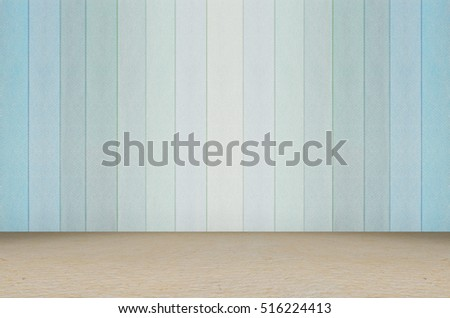 pastel blue showroom and wooden floor