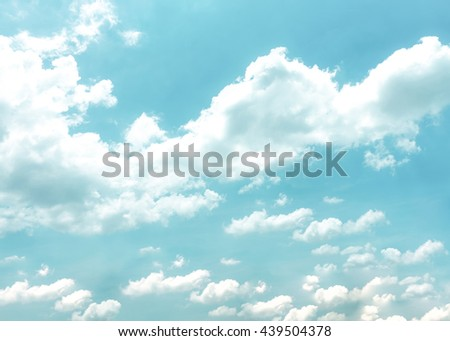 Pastel blur heaven clouds sky background. Soft focus blue sky white sunlight day time background. Abstract blurred of sunlight. Open view out windows. Cyan gradient horizon. Blurry nature summer. - stock photo