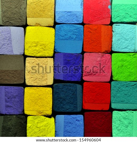 pastel chalk cubes background - stock photo