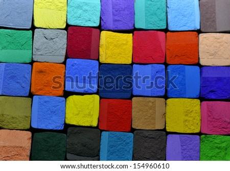 pastel chalk cubes background - stock photo