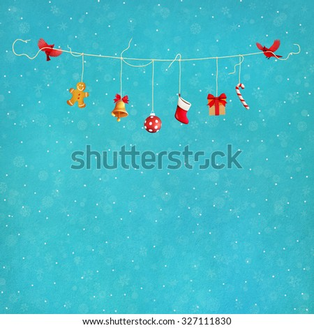 Pastel Christmas festive background with birds and gifts - stock photo