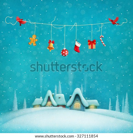 Pastel Christmas festive background with birds and gifts and village  - stock photo