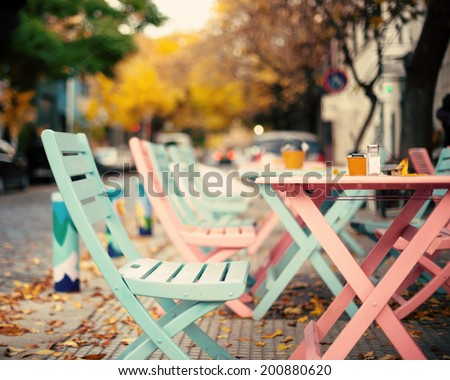 Pastel coffee shop - stock photo