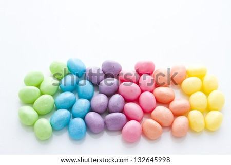pastel color jelly beans for Easter.