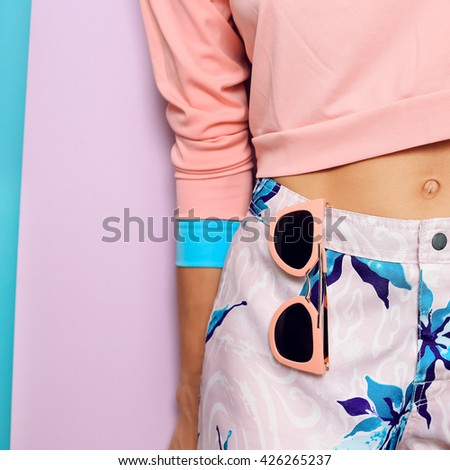 Pastel Colored clothing. Fashion Accessories Sunglasses. Summer vanilla style.