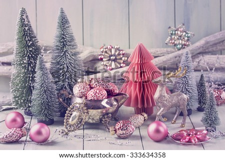 Pastel colored decoration for christmas - stock photo