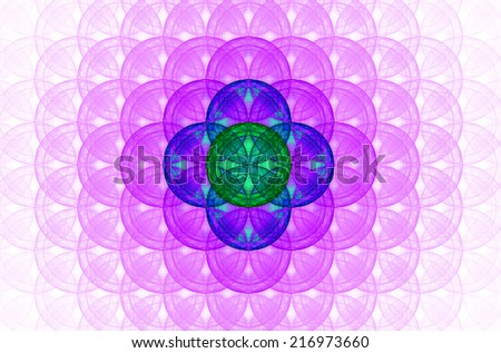 Pastel colored pink abstract fractal background with a detailed decorative flower of life pattern spreading from the center which is in blue and green colors - stock photo