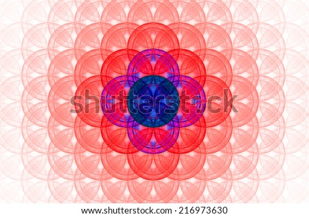 Pastel colored red abstract fractal background with a detailed decorative flower of life pattern spreading from the center which is in blue and pink colors - stock photo
