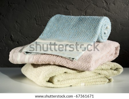 pastel colored towels