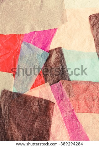 Pastel colored unusual background with wax papers stripes. Toned image. - stock photo
