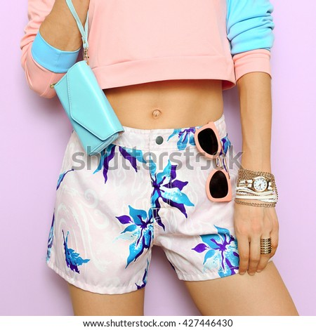 Pastel colors, Floral print. Fresh Summer style. Fashion vanilla girl.