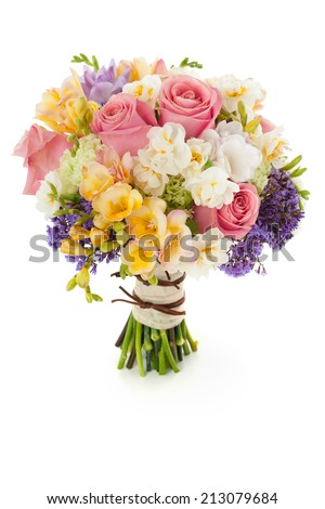 Pastel colors wedding bouquet made of Roses, Freesia, Carnation and Limonium flowers isolated on white. - stock photo