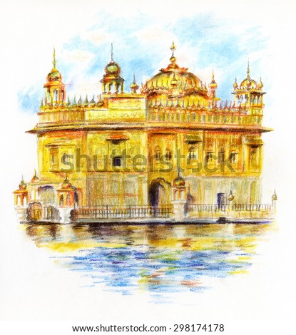 Pastel crayons sketch of Sri Harmandir Sahib, The Golden Temple in Punjab India.