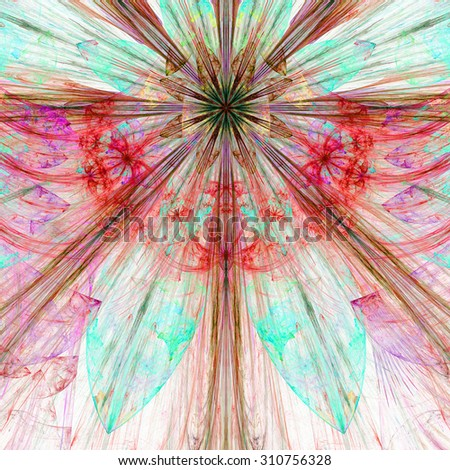 Pastel cyan,pink,red exploding flower/star fractal background with a detailed decorative pattern, all in high resolution pastel cyan,pink,red - stock photo