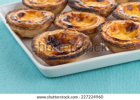 Pastel de nata, typical pastry from Lisbon - Portugal. - stock photo