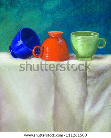 Pastel drawing still life with vintage retro teacups - stock photo