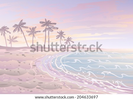 Pastel dream holiday on a beach with sand, sea and palm trees