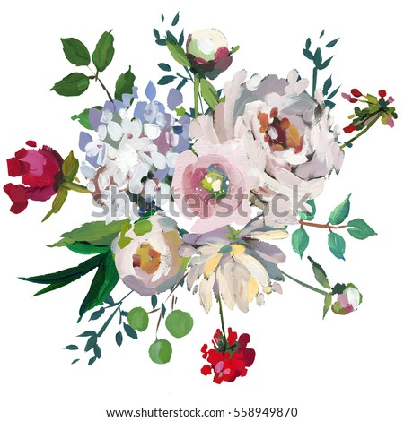 Pastel floral bouquet hand painted acrylic stock illustration pastel floral bouquet hand painted acrylic mint white pink wedding flowers on white background mightylinksfo