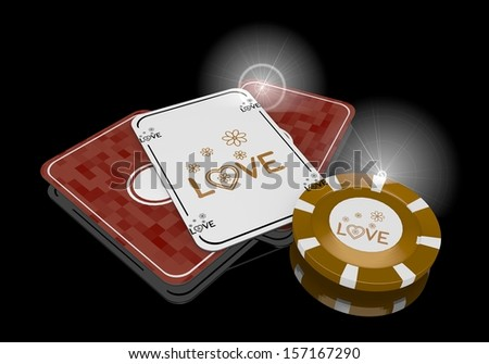 Pastel gray  golden heart 3d graphic with glaring love sign  on poker cards - stock photo