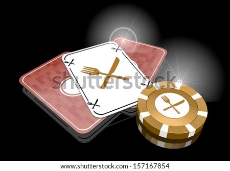 Pastel gray  golden risky 3d graphic with posh restaurant sign  on poker cards