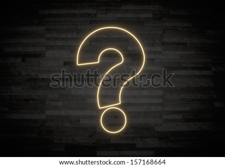Pastel gray  stylish light 3d graphic with exclusive question label on classy stone wall - stock photo