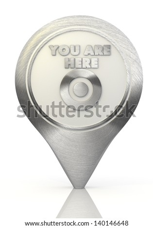 Pastel gray  stylish marker 3d graphic with icon you are here sign on a chrome map marker - stock photo