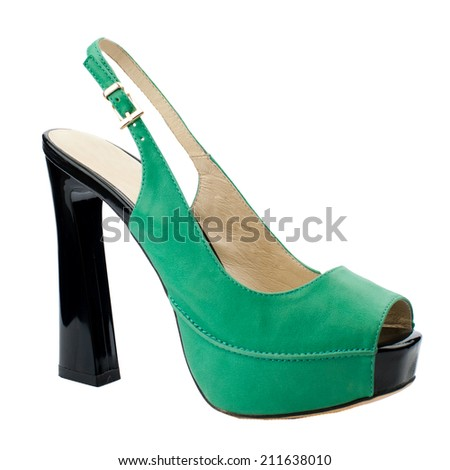 Pastel green suede women shoe isolated on white background. - stock photo
