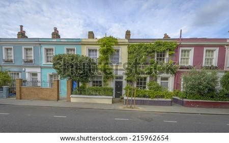 Pastel houses, Notting Hill - London, England - stock photo