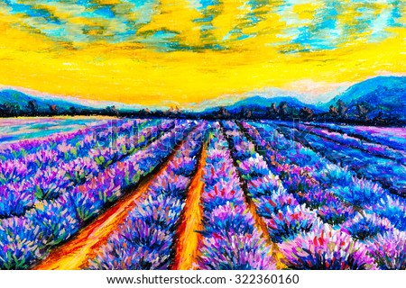 Pastel Painting - Lavender Field at Provence, France - stock photo