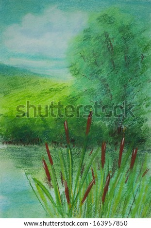 Pastel painting showing lake in summer. - stock photo
