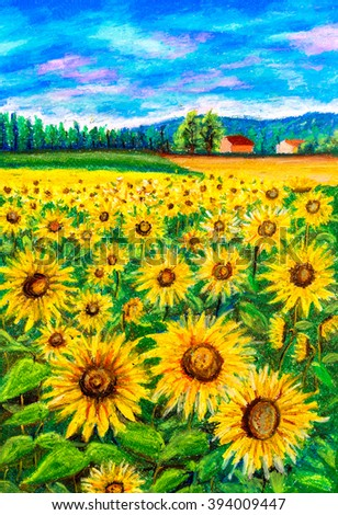 Pastel Painting - Sunflower