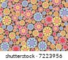 pastel pink and blue snow flowers pattern (raster) - stock photo