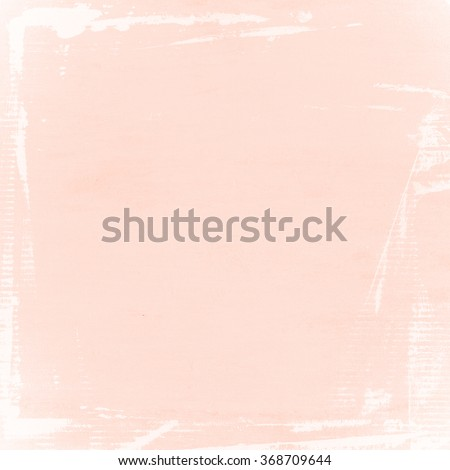 pastel pink background old wall paper texture white paint brush strokes frame - stock photo