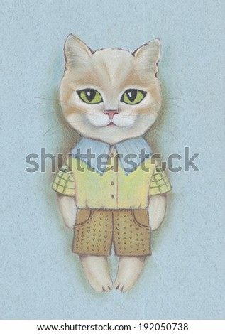 Pastel portrait of a cute cat  dressed in a suit of shirt and shorts - stock photo