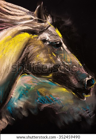 Pastel portrait of a white horse on a cardboard. Modern art  - stock photo
