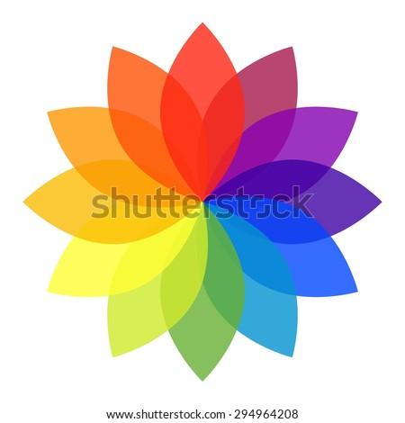 Pastel Rainbow Flower - stock photo