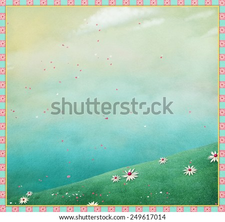 Pastel spring background with blooming meadow - stock photo